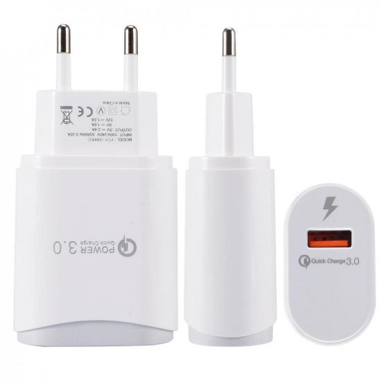 2.4A USB Type C Micro USB SnabbLaddare EU Kontakt iPhone X XS HUAWEI P30 MI8 MI9 One Plus 7 S10 2021