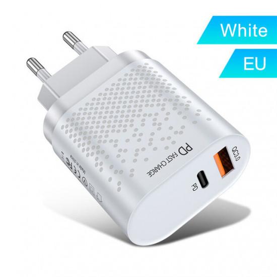 18W 3A Quik Laddare 3.0 PD Laddare USB Laddare EU/US Kontakt iPhone 12 XS 11 Pro Huawei P30 Pro Mate 30 Mi10 K30 One Plus 7T 5G Samsung Galaxy Note S20 Ultra 2021