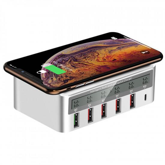 100W 6-Port USB PD Oplader PD 3.0 QC3.0 LED Digital Display Opladningsstation 10W Fast Trådløs Oplader Pad EU US Stik UK Stik AU Stik 2021