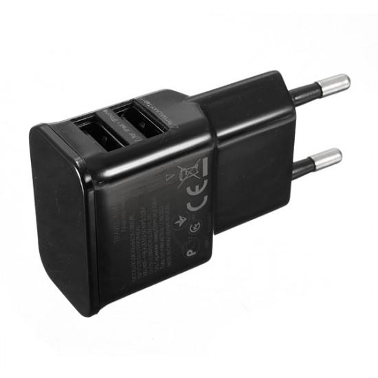 2 Dubbla USB-portar Charger Adapter Europeisk Laddare för iPhone Smartphone 2021