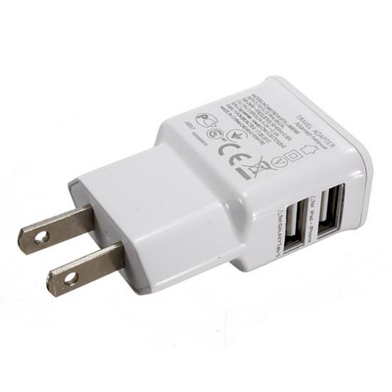 2 Dubbla USB-Portar Us Plug Laddare Adapter för iPhone Smartphone 2021