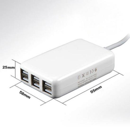 USA / Eu / UK Plug 5v 6a 30w 6 Port USB-Laddare för iPhone iPad 2021