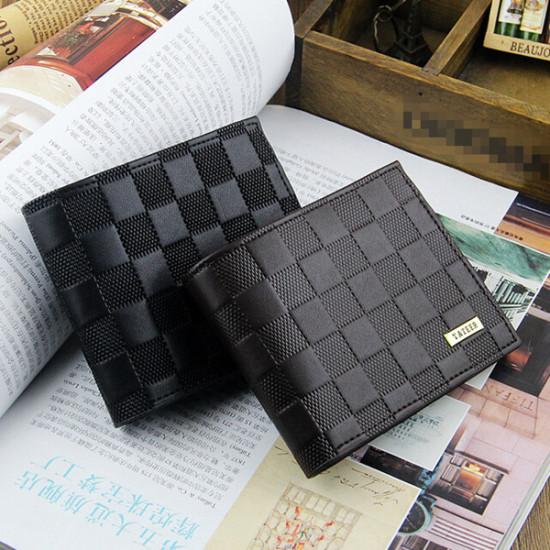 Men Embossing Leather Credit Card Holder Short Purse Wallet 2021