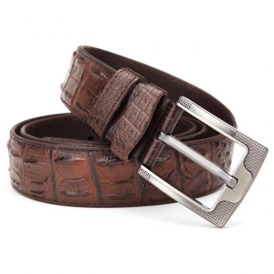 120CM Mens Belt  PU Alligator Crocodile Pattern Alloy Pin Buckle Jeans Strip 2021