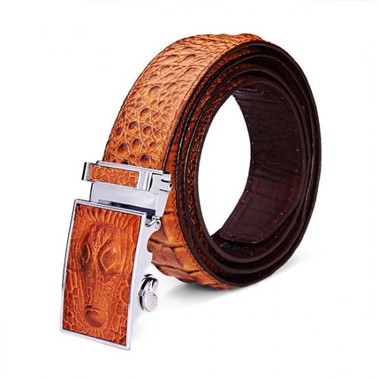 125CM Men's Belt Crocodile Grain Automatic Buckle PU Strip 2021