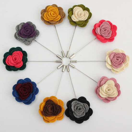 1X Men's Lapel Flower Rose Mixed Color Handmade Boutonniere Stick Brooch Pin 2021