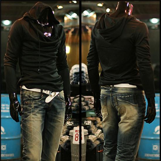 2014 Män Mode Punk Hoddies Tröja Pull Slim Hoodie 5 Färger 2021