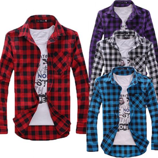 4 Colors Spring Men Long Sleeve Plaid Shirt Casual Shirt Tops 2021