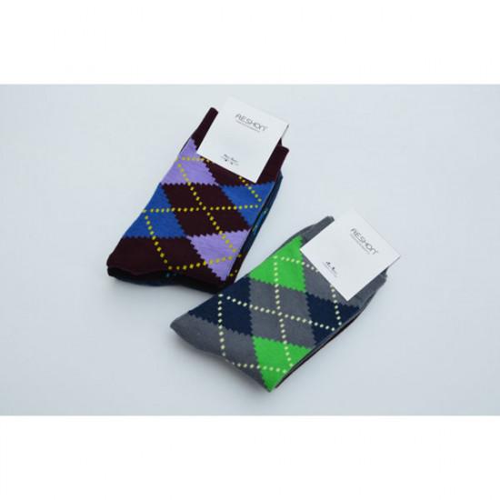 AESHON Mäns Diamond Strumpor Retro Soft Bomull Socks 2021