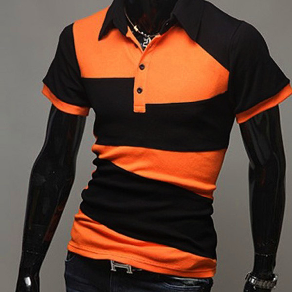Buy Mens Fashion Contrast Color Strip Short Sleeve Polo