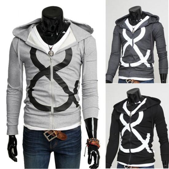 Men's Fashion Fabric Print Hooded Slim Casual Zipper Hoodie Sweatshirt 2021