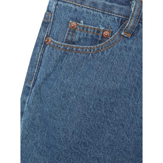 High Waist Zipper Dark Blue Worn Out Straight Leg Short Jeans 2021