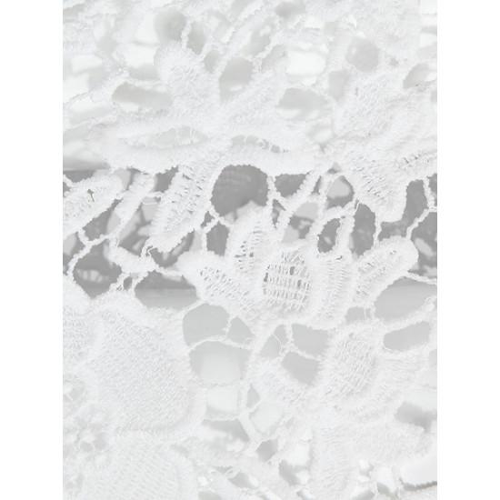 Aushöhlen Spitze Stickerei Crochet Schwarz Weiß Bodycon Rock 2021