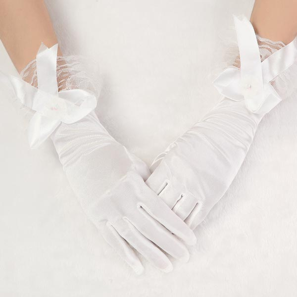 Buy new style bridal beige bow satin short wedding dress for Wedding dresses with gloves