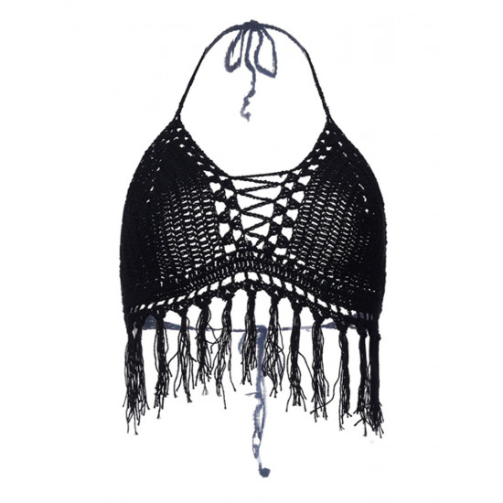 Sexy aushöhlen Crochet Fransen Halter Bademode Tank Tops 2021