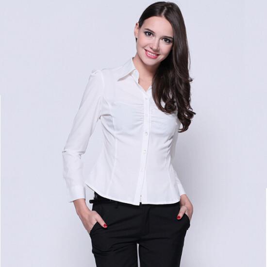 Kvinna Elegant Rent Vit Skjorta Långärmad Turn Down Krage Blus 2021