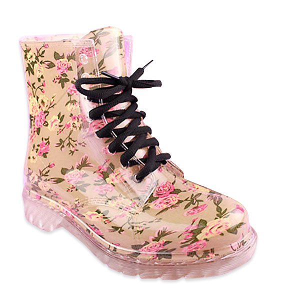 Buy Candy Colorful Crystal Clear Flat Heel Rain Boots