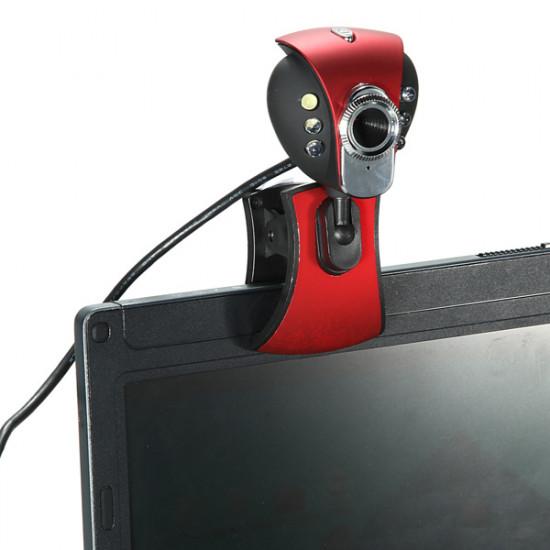 USB 50M 6 LED Night Vision Webbkamera Kamera Webcam med Mic PC Laptop 2021