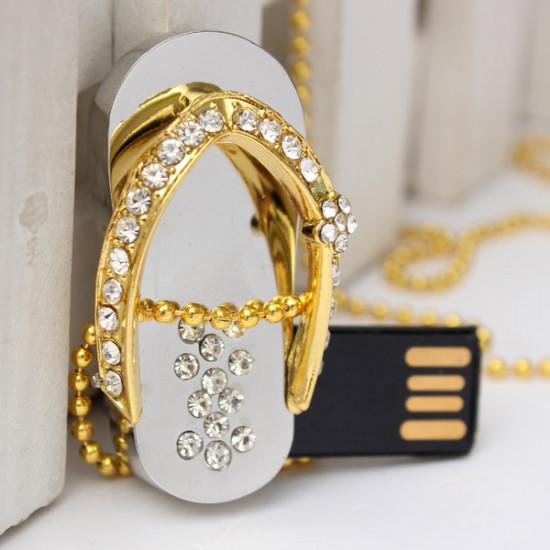 16GB Crystal Slippers USB 2.0 Flash Drive Storage Necklace U Disk 2021