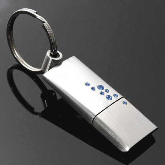 16GB Modern Metal Crystal USB 2.0 Flash Drive Key Ring Memory U Disk 2021