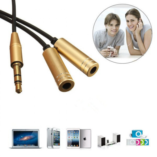 3.5MM Male To 2 Female Earphone Headphone Audio Splitter Extension Cable Adapter 2021