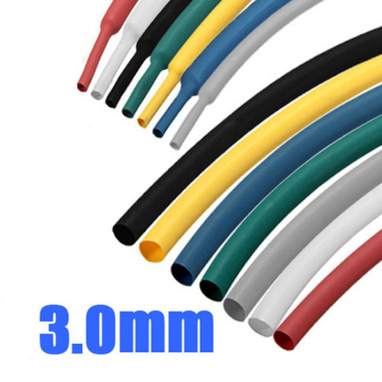 1/8 Inch 1M 3.0MM 7Color 2:1 Polyolefin Heat Shrink Tube Sleeving Wrap 2021