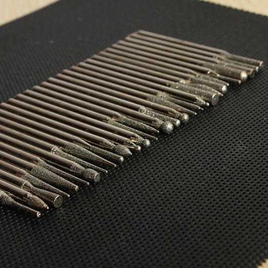 30pcs 3MM Titanium Diamond Burrs Bur Bit Set Dremel Rotary Tool Set 2021