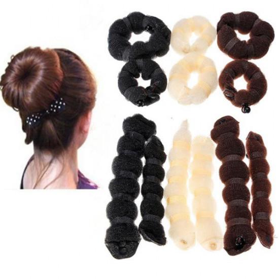 2 PC heiße Brötchen Art und Weise elegante Haar Magic Style Brötchen Hersteller 3 Farben 2021