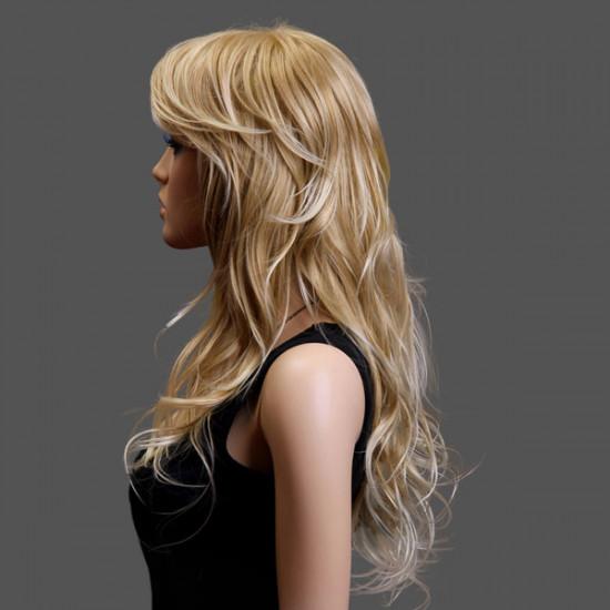 100% KANEKALON Mitte gescheitelt Natürliche Curly Gold Lange Damen Perücke 2021