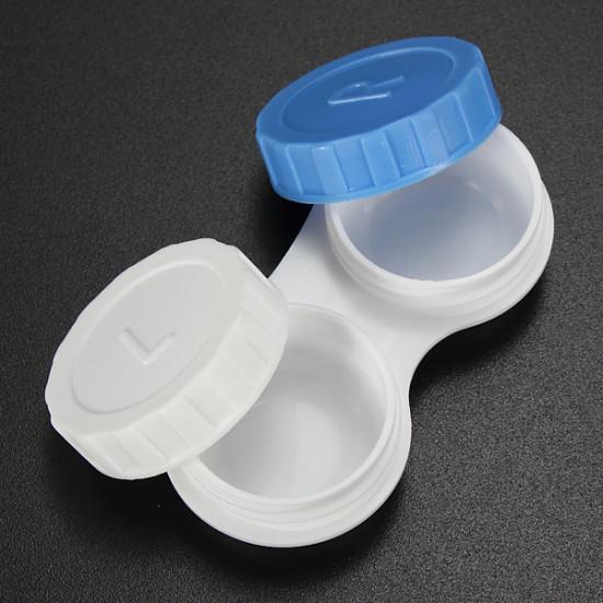 Liten Frame Plast Vit Blå Kontaktlinser Förvaring Blöt Fodral 2021