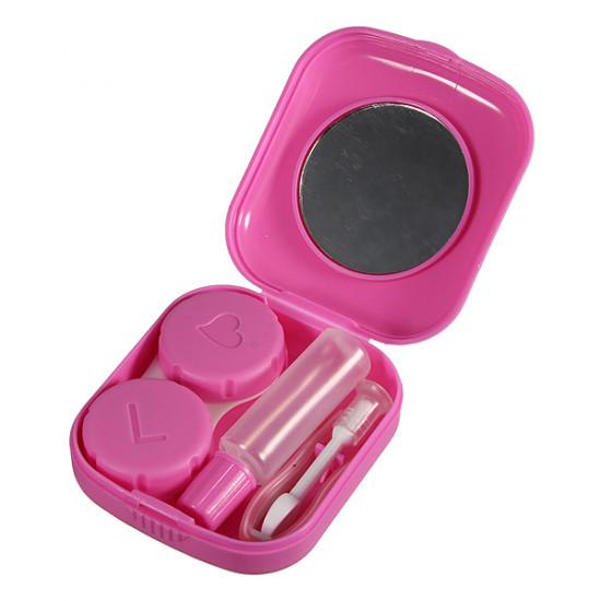 Square Pink Mini Spegel Kontaktlins Förvaringsväska Box Set 2021