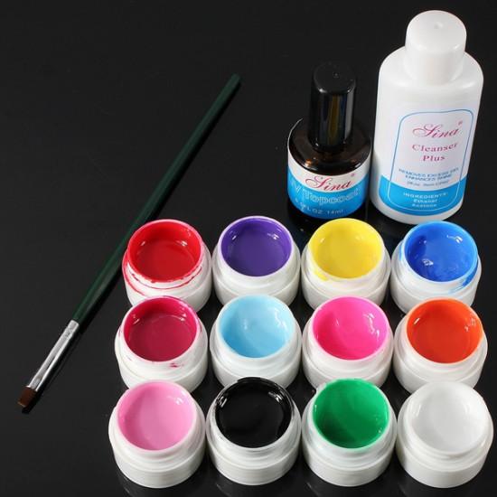 12 Färg UV Gel Cleanser Plus Top Coat Borste Nagelkonst Set 2021