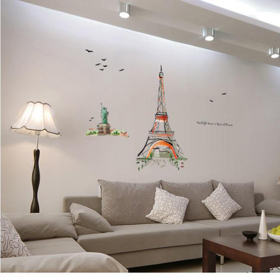 120*140 Eiffel Tower Hand-painted Wall Art Stickers 2021
