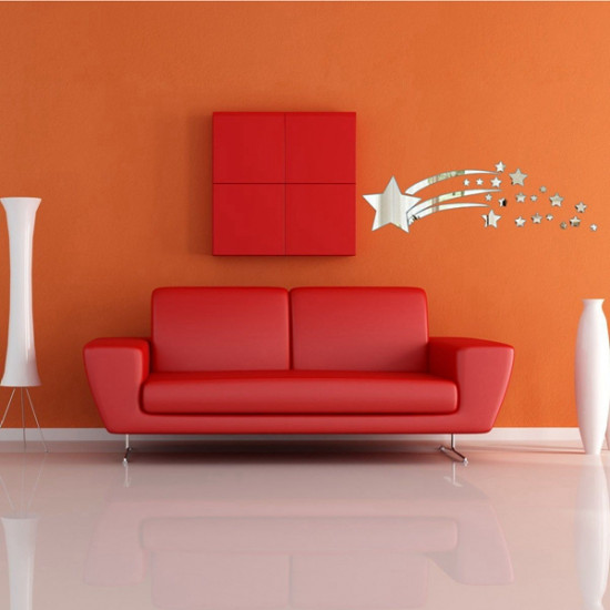 3D Meteor Star Mirror Sticker Modern Art Home Wall Decoration 2021
