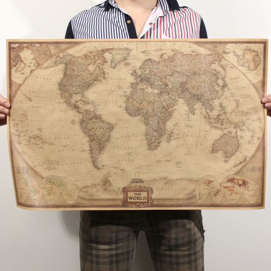 71*46.5cm Brown Paper Antique World Map Wall Chart Poster 2021