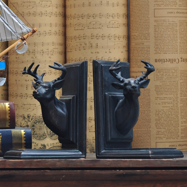 Buy Royal Deer Head Resin Bookends Home Decoration Crafts
