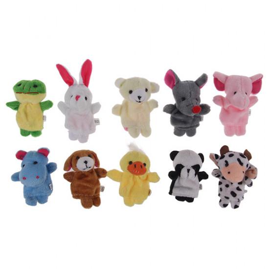 10 st Plush Animal Finger Puppet Set Play Läs Story Toy baby dockor 2021