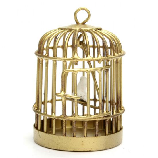 1:12 Mini Golden Metal Bird Cage Furniture Gifts Children Toys 2021