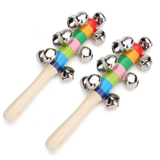 2Pcs Baby Kid Rainbow Wooden Handle Bell Stick Shaker Rattle Toy 2021
