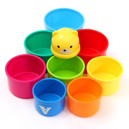 9pcs Set Children Kids Educational Toy Figures Letters Folding Cup Stack 2021