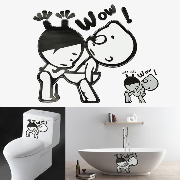 G nstig kaufen lustige junge und m dchen aufkleber badezimmer wand wc brille dekoration online - Badezimmer aufkleber ...