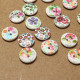 100Pcs Printed Wooden Craft Buttons 15MM 2 Holes 2021