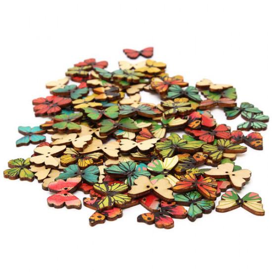100pcs Mixed Butterfly Wooden Children Garment Sewing Buttons 2021