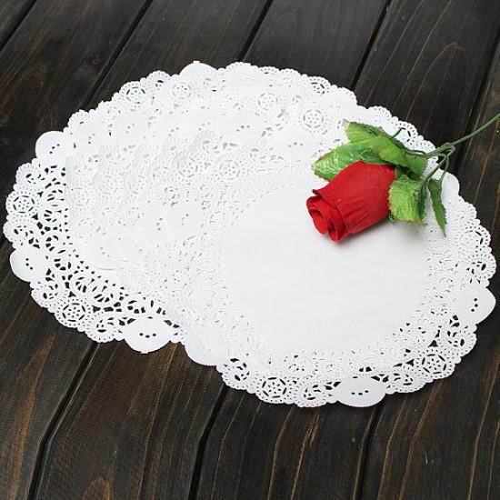 100Pcs 8.5 Inch Round Lace Paper Cake Dessert Doilies Placemat 2021