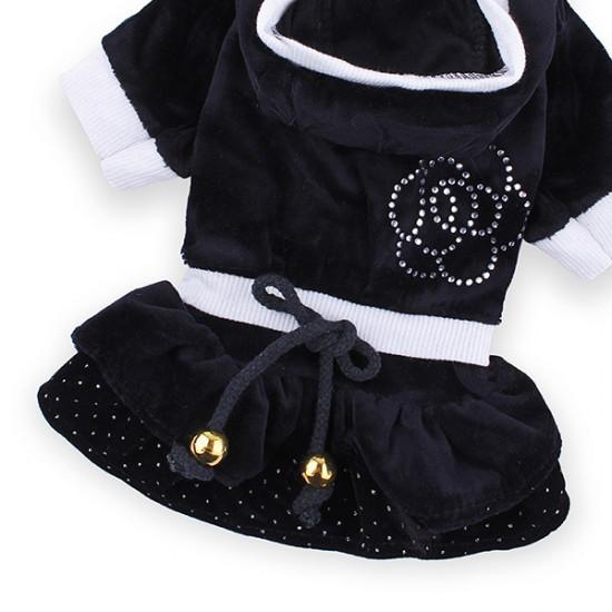Dog Cat Camellia Cake Dress Velvet Pet Clothes 2021