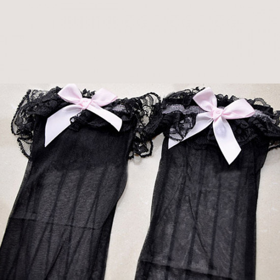 Women Stripe Bow Ultra-thin Black Stockings 2021