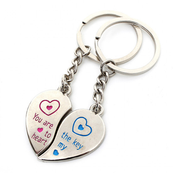 1 Paar Liebes Herz Paar Schlüsselring aus Edelstahl Ketten Liebhaber Geschenke 2021