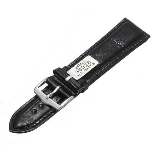 Black Stitching Crocodile Texture Leather Watch Band Strap 2021