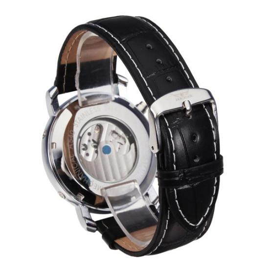 JARAGAR Luxus Skeleton automatische mechanische Leder Mann Armbanduhr 2021