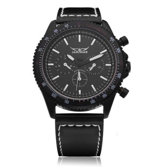 Jaragar Black Leather White 3 Dial Men Mechanical Wrist Watch 2021